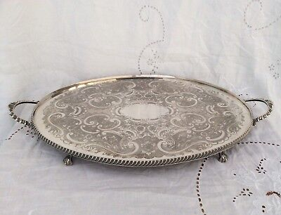 "Fine Quality 20"" ARTHUR PRICE Footed Silver Plated Butler Serving Tray C1920"