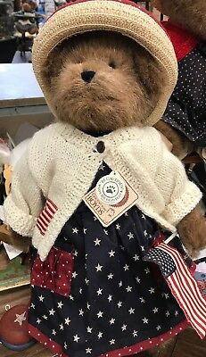 "Boyds Bears  Dolly M. Bearsevelt   Retired  16"" Patriotic Bear   Happy July 4th!"