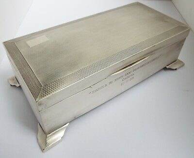 Handsome Large Heavy English Antique 1947 Sterling Silver Cigarette Box On Feet