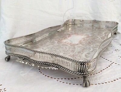 "Quality 22"" Twin Handled Silver On Copper Footed Serpentine Gallery Tray C1920"