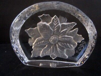 """Christmas Poinsettia 1999 Cristal D'arques Clear Glass Paperweight France 3.5"""""""