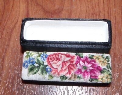 Beautiful Satin Box with ROSES Embroidery Lid Tiny Stitches! Sewing Pins Case?
