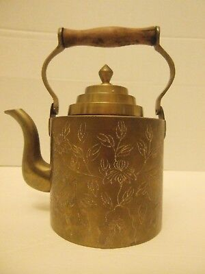 Antique Chinese Brass Bronze Teapot With Wood Handle Mark On Bottom