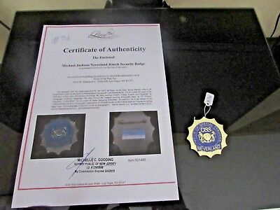 Michael Jackson Neverland Ranch Security Badge No Signed W/coa