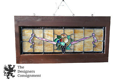 """Antique Leaded Stained Glass Window Panel Frame Fruit Grapes Reclaim Salvage 40"""""""