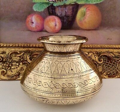Fine Quality 19th Century Indian Chased Solid Brass Lota Holy Water Bowl