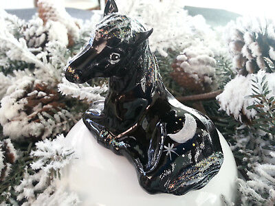 Fenton Art Glass  Hand Painted Black Horse Pony Foal - Two Signatures - 5057 Dj