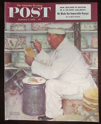 Norman Rockwell Saturday Evening Post  Jan 3, 1953 Dieting Chef Complete