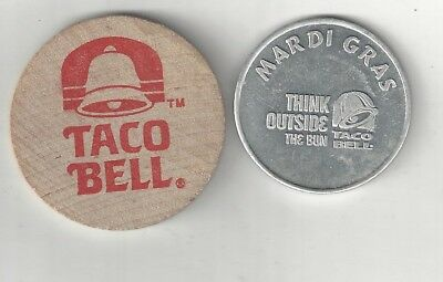 2 Vintage Taco Bell Advertisement Good For Tokens Coins Think Outside The Bun