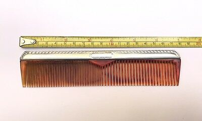 Vintage Sterling Silver Mens Tortious Shell Hair Comb