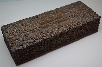 a fine & intricate antique 19thC Anglo Indian carved Sandal wood box c.1890's