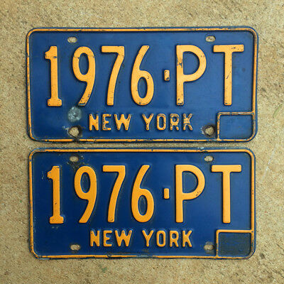 1966 New York license plate pair 1976 PT YOM DMV clear Ford Mustang Chevy 1969