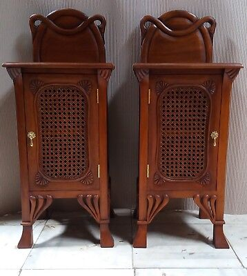 Pair of Solid Mahogany & Rattan French Art Nouveau Antique Style Bedside Chests