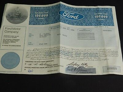 Vintage Ford  Motor Company Share Stock Certificate Unused