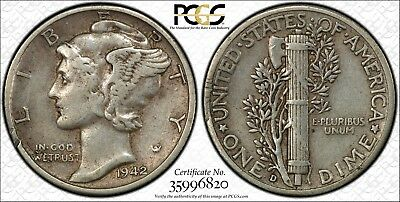 1942/1 D Mercury Dime - PCGS Genuine VF Detail - Overdate - Gold Shield Security