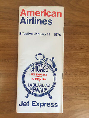 AMERICAN AIRLINES System Map Timetable Booklet 1970 Chicago La Guardia Newark