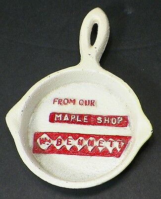 Miniature Cast Iron Advertising Frying Pan Wm Bennett Maple Shop Painted     B