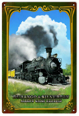 DURANGO SILVERTON  Narrow Gauge Railroad Metal Sign  / Vintage Rustic Style