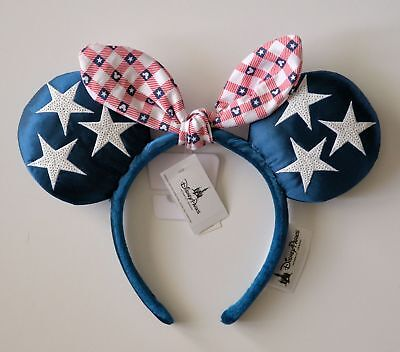 Disney Parks Red White Blue Minnie Mouse Ears Headband New With Tag