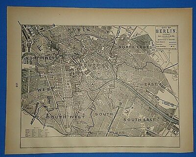 Vintage 1893 BERLIN MAP ~ Old Antique Original Atlas Map 111518