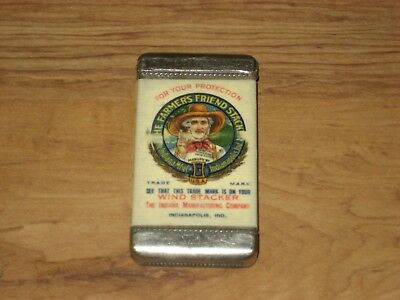 Early 1900's Adv. Pocket Match Safe-The Farmer's Friend Wind Stacker