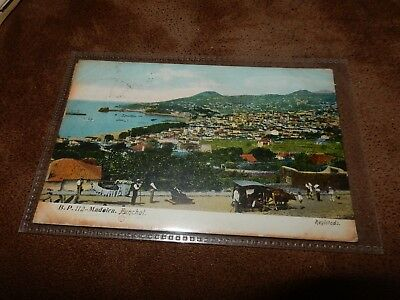 Early Madeira postcard - nice scene Funchal - over printed stamps