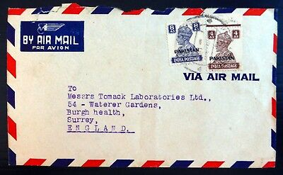 PAKISTAN G.VI 4a & 8a on Airmail Cover to Surrey Small/Faults BG506
