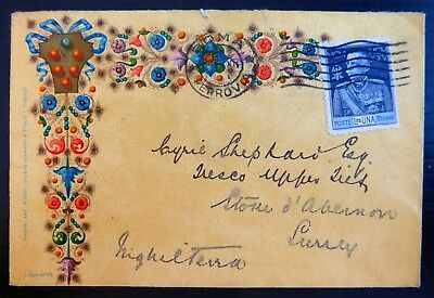 ITALY Early Decorative Seasonal Envelope to Surrey with Faults BG507