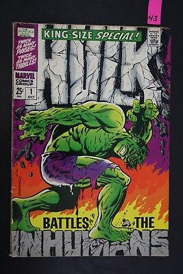 Vintage 1970 Marvel No. 1 King Size Hulk Battles Inhumans Comic Book PS43