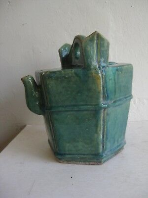 Fine Old Antique Chinese Celadon Drip Glaze Ceramic Porcelain Water Pot Jug Jar