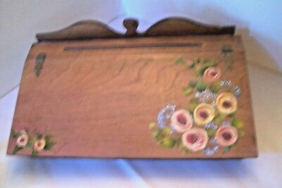 Vtg Writing Lap Desk Wooden Hand Painted Folk Art signed Edwanna