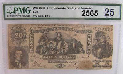 1861 Pmg Certified  Vf 25 $20 Confederate States Of America T-20 #2565