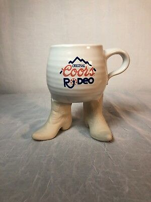 Original Coors Rodeo Coffee Mug - Sits on pair of Cowboy Boots Unique Pre-Owned