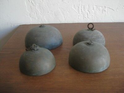 Lot of 4 Fine Old Antique Chinese Brass Bronze Etched Buddhist Temple Bell Chime