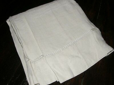 Vtg Large King French Sheet Extensive Ladderwork Details Hem No Mono Joined FS07
