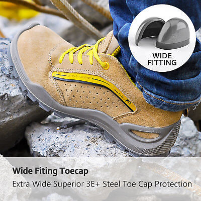 Safetoe Safety Shoes Mens Work Boots Leather Steel Toe Breathable L-7296 UK Size