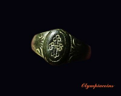 ** BEAUTIFULL **  Ancient BYZANTINE  Bronze  ring ** CROSS  **