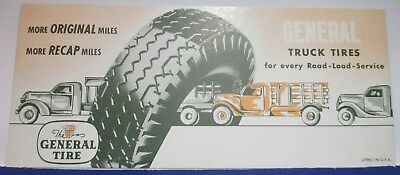 """8-5/8"""" x 3-3/4"""" GENERAL TIRE TRUCK TIRE BLOTTER--GENERAL TIRE LOGO ON BACK, TOO"""
