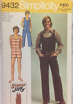 Vintage 70s Simplicity Pattern 9432 Super Jiffy Jumpsuit Teen Boy Size 16
