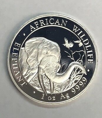 2018 Somali Elephant 100 Shillings Coin 1oz .999 Ag Silver in Air-Tite Capsule