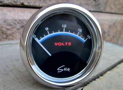 Vintage Sun Blueline Volts Gauge 2 5/8 Inch VOL-12B Voltage Super Clean Works NR