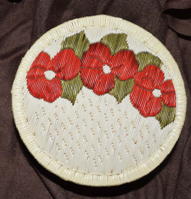 Stunning Large Great Lakes Anishinaabe Indian Quill Basket Box Red Flowers