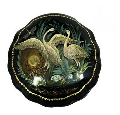 Palekh  Russian Lacquer Box The STORKS #3769