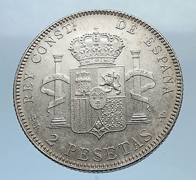 1905 SPAIN - Antique Silver 2 Pesetas Coin - Spanish King ALFONSO XIII i71821