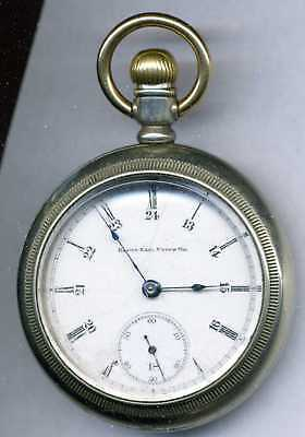 Rare 18s 17 jewel Railroad marked Elgin pocket watch B & A Ry. runs