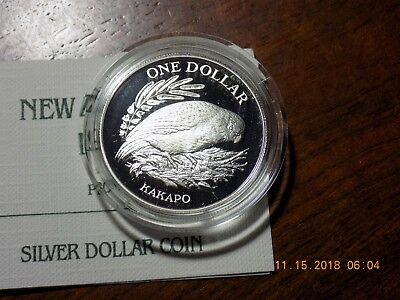 1986 New Zealand Kakapo Bird Cameo Proof Silver Dollar in Capsule and Case