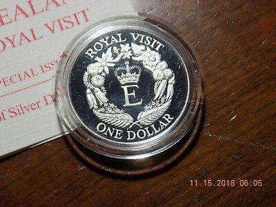 1986 New Zealand Royal Visit Cameo Proof Silver Dollar in Capsule and Case