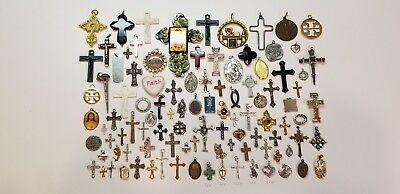 Lot of 100 Vintage Now Catholic Religious Holy Medals Cross Pendants Charms More