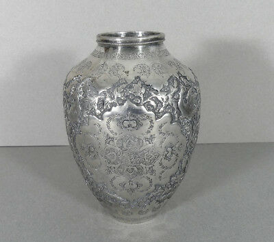 Superb Persian Solid 84 Silver Vase Antique Islamic Repousse