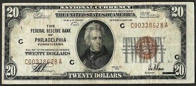 1929 $20 Federal Reserve Bank of Philadelphia Pennsylvania Note
